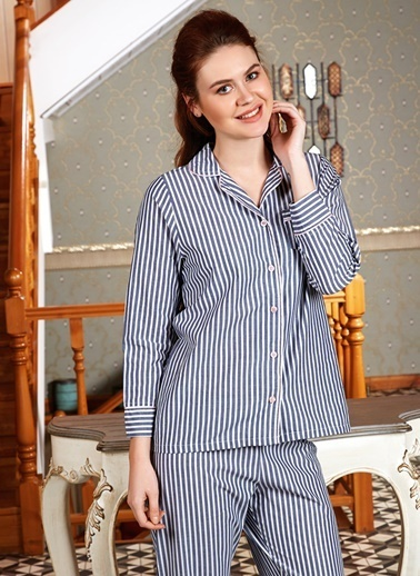 Anıl Kadın Pijama 4 Mevsim Pamuklu Çizgili Üst Pantolon 2'li Takım Gri